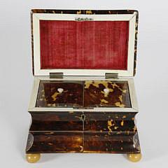 Early 19th Century English Regency Tortoiseshell Double Compartment Tea Caddy
