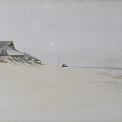 """Jane Brewster Reid Nantucket Watercolor on Paper, """"Beach at Wauwinet"""""""