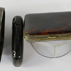 Group of 3 19th c. Assorted Tortoiseshell and Sterling Boxes and Jeweler's Loop