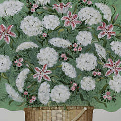 Janette Baker Hand Painted Wooden Queen Anne's Lace in a Nantucket Basket Fireplace Cover