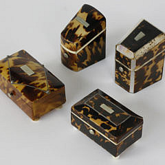 11-4877 Group of 4 Tortoiseshell Silver Inlaid Miniature Boxes A_MG_3123