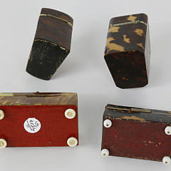Group of 4 19th c. Tortoiseshell Silver Inlaid Miniature Boxes