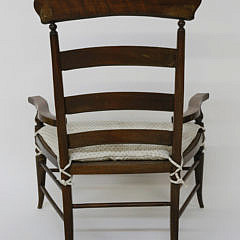 Oversized English Mahogany Rush Seat Ladderback Armchair