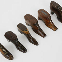 12-3877 Six Carved and Inlaid Wood Shoe Snuff Boxes A_MG_3142