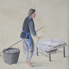Vintage Occupational Watercolor on Paper of a Japanese Man Working