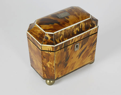 2-4877 Tortoiseshell Double Compartment Tea Caddy A_MG_3057