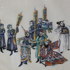 """Chinese Watercolor on Rice Paper, """"Trial by Combat"""", early 19th Century"""