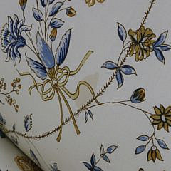 Creme and Floral Upholstered Slipper Chair