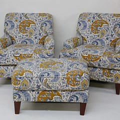 28-4890 Pair of Blue Floral Armchairs and Ottoman A_MG_2818