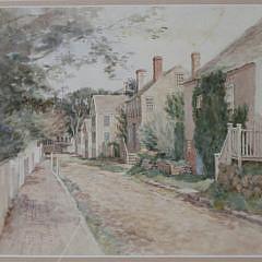 "Jane Brewster Reid Watercolor View, ""Ash Lane, Nantucket"""
