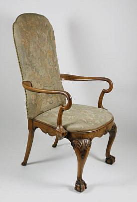 3-4890 Georgian Upholstered Highback Armchair A_MG_2934