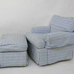 Large Blue and White Overstuffed Checkered Upholstered Armchair and Ottoman