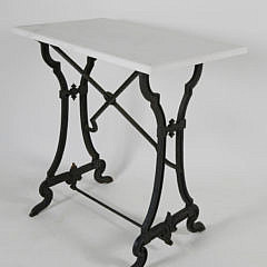 34-4890 Cast Iron and Marble Top Side Table A_MG_3094