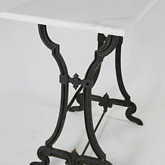 English Cast Iron and Marble Top Side Table, 19th c.