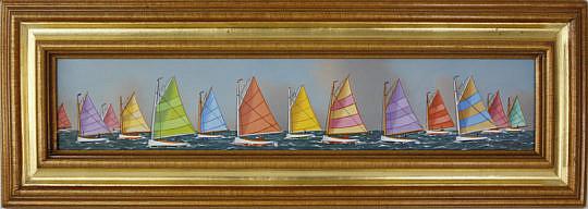 "355-3771 Jerome Howes Oil on Panel, ""Nantucket Rainbow Fleet"" A_MG_2477"