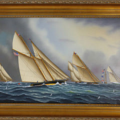 357-3771 Jerome Howes Oil on Panel of Racing Ships A_MG_2515