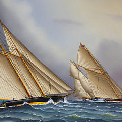 "Jerome Howes Oil on Panel ""Yacht Race"""