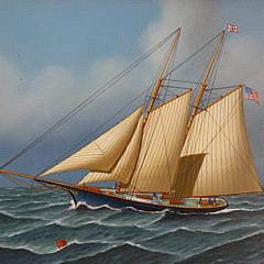 Jerome Howes Oil on Panel of a Two Masted Schooner