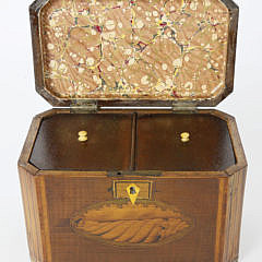 19th c. Tiger Maple Canted Corner Double Compartment Tea Caddy