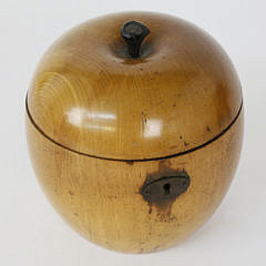 378-3771 English Cherry Wood Apple Form Tea Caddy A_MG_3169