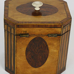 English Regency Satinwood Canted Corner Single Compartment Tea Caddy, 19th c.