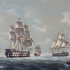 Salvatore Colacicco Oil on Wood Panel of British Man-o-War Fleet in the Open Seas