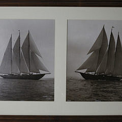 """39-4810 Two Framed Sepia Toned Photographs of the Three-Masted Racing Yacht, """"Cerole"""" A_MG_3206"""