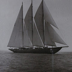 """Two Framed 19th c. Sepia Toned Photographs of the Three-Masted Racing Yacht, """"Creole"""""""
