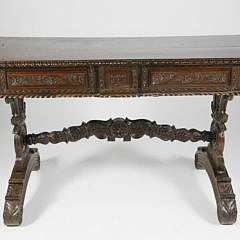 40520 Teak Spanish Colonial Carved Library Table G_MG_2601