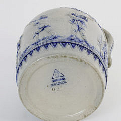 Antique German Cobalt Blue Decorated Stoneware Jug