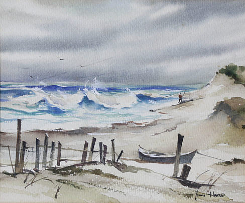 "58-4878 John Hare Watercolor ""Lone Surfcaster"" B_MG_2488"
