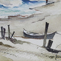 "John Hare Watercolor on Paper, ""Lone Surfcaster"""
