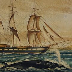 Vintage Oil on Panel Whaling Scene with Whale Ship and Whale in Foreground