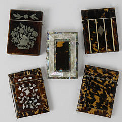 9-4877Assorted Group of 5 Tortoiseshell and Mother of Pearl Card Holders A _MG_3129
