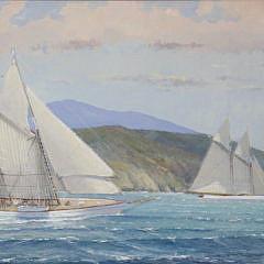 """William Lowe Oil on Linen """"Schooner Off the Island"""""""