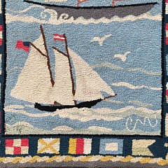 """Claire Murray """"Lighthouse and Sailboats"""" Hooked Rug"""