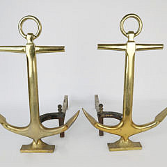 1-4857 Pair of Mid Century Brass Anchor Andirons A_MG_4258