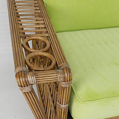 Palecek Bamboo Sofa with Lime Green Cushions
