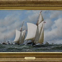 "Antonio Jacobsen Oil on Canvas ""America's Cup Trials, 1871, Yacht Dauntless"""