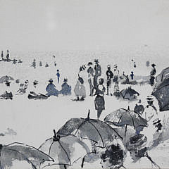 "Andrew Shunney Watercolor on Paper, ""Beach Goers, Nantucket"""