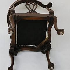 Georgian Style Mahogany Upholstered Corner Armchair
