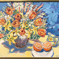 """Sybil Goldsmith, Oil on Canvas, """"Flowers in a Basket and Sliced Orange"""""""