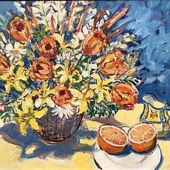"Sybil Goldsmith, Oil on Canvas, ""Flowers in a Basket and Sliced Orange"""