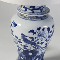 Pair of Blue and White Porcelain Covered Jar Lamps on Acrylic Stands