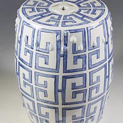 Chinese Blue and White Greek Key Design Garden Stool