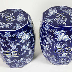 Pair of Blue and White Porcelain Butterfly Octagonal Garden Stools