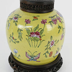 105-4900 Chinese Yellow Glazed Ginger Jar with Carved Teakwood Stand and Lid A_MG_3815