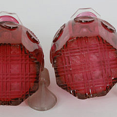 Pair of Cranberry Cut Crystal Glass Decanters