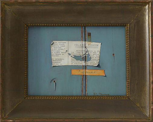 "12-4892 Robert Trotter (20th Century) Tromp L'oeil Oil On Panel, ""Island Charm"" A_MG_3267"