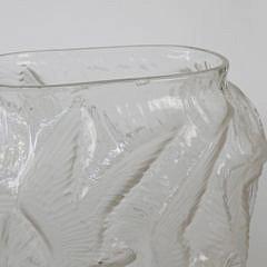 Mid Century Seagulls in Flight Frosted Art Glass Vase